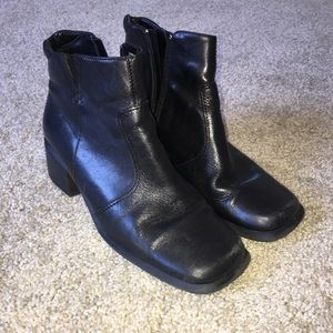 """Size 7.5 black """"leather"""" booties with small heel"""